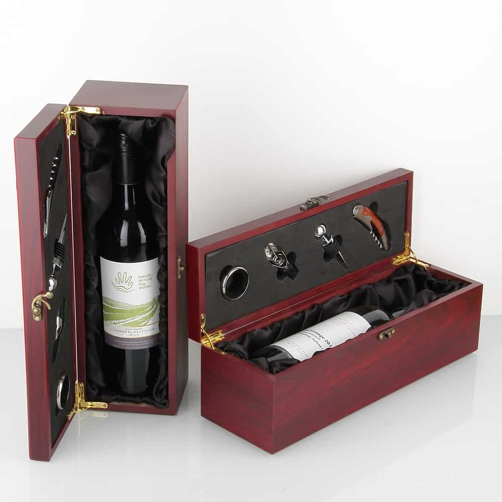 Bottle jarrah box black lining 4 accessories oak room for Timber wine box