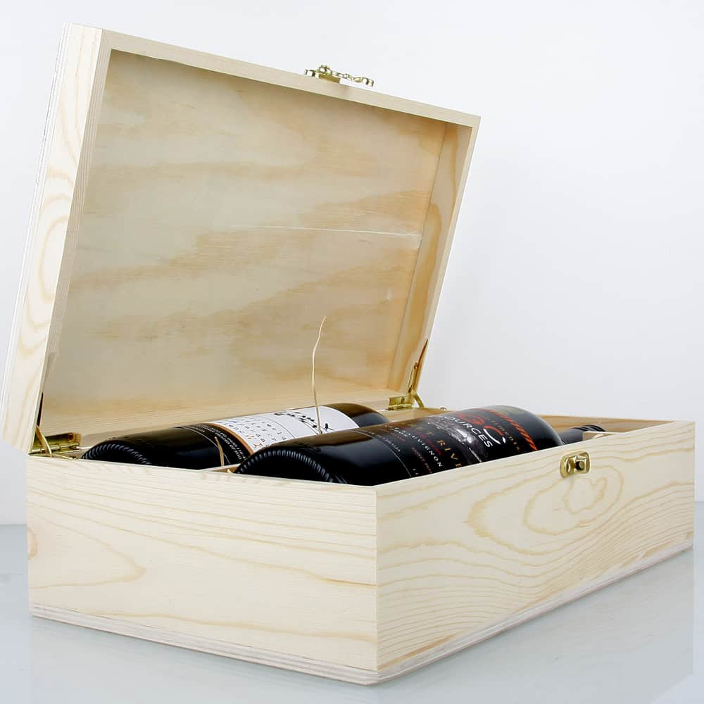 Premium timber 2x bottle wine presentation box oak room for Timber wine box