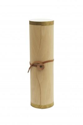 Single Wine Bottle Wood Tube With Gold Trim
