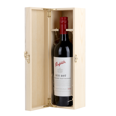Premium wine gift with timber box and Penfolds Bin 407