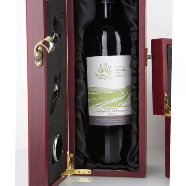 Timber satin blk wine presentation gift box Oak Room Wines