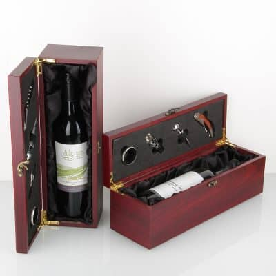 Timber satin blk wine presentation gift box Oak Room Wines