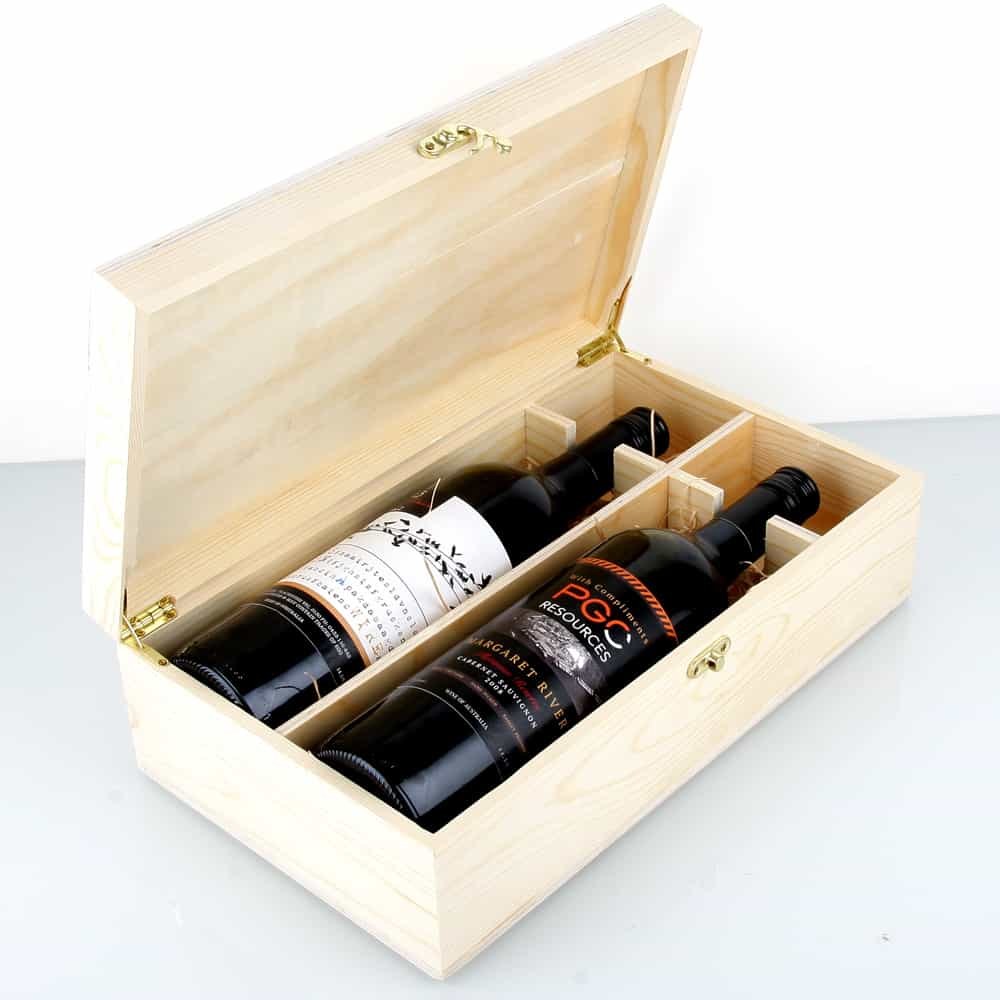 Premium timber 2x bottle wine gift box oak room wines for Timber wine box