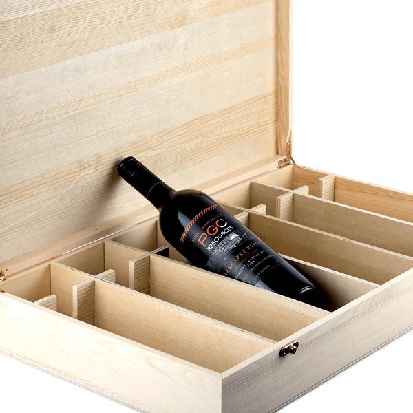 Premium timber 6x bottle wine gift box oak room wines for Timber wine box