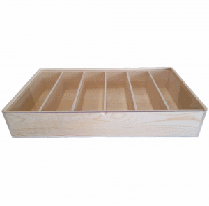 Six Bottle timber wine gift box with clear perspex sliding lid.